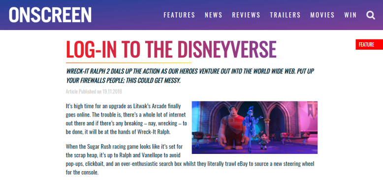 Onscreen Magazine Ralph Breaks The Internet