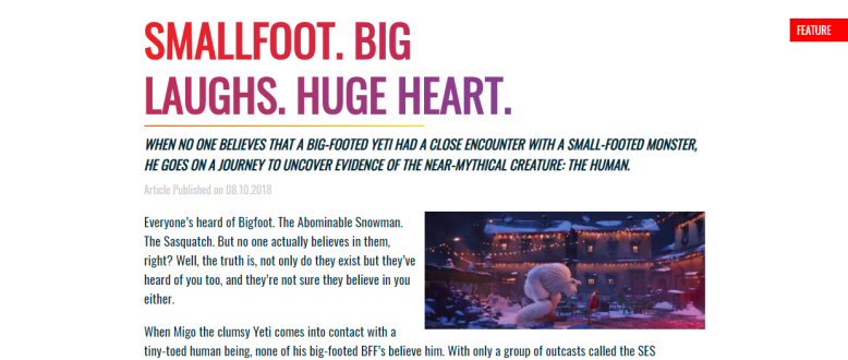 Onscreen Magazine Smallfoot