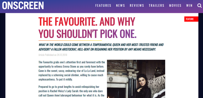 Onscreen The Favourite Preview