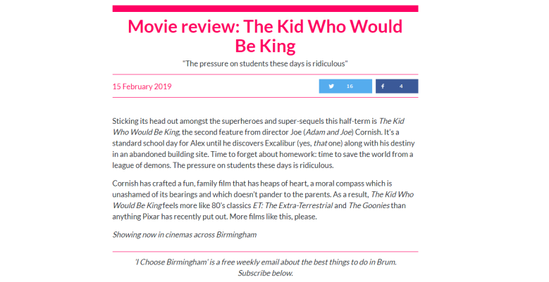 The Kid Who Would Be King Review