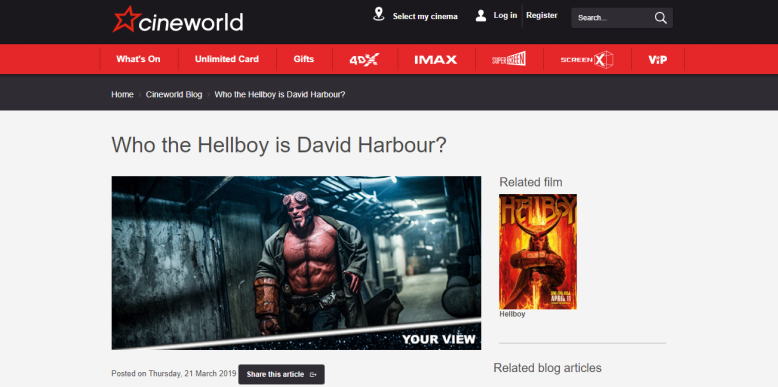 Cineworld Hellboy Preview