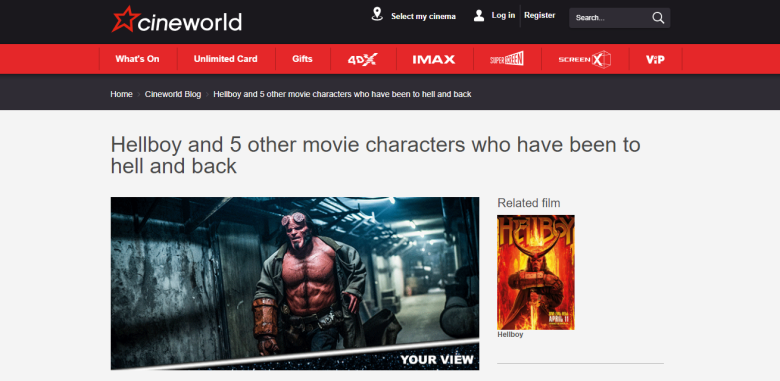 Hellboy to Hell and back Cineworld