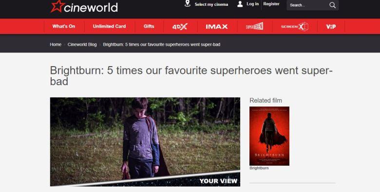 Cineworld Brightburn Superheroes superbad screengrab