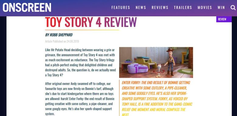 Onscreen Magazine Toy Story 4 Review Screengrab