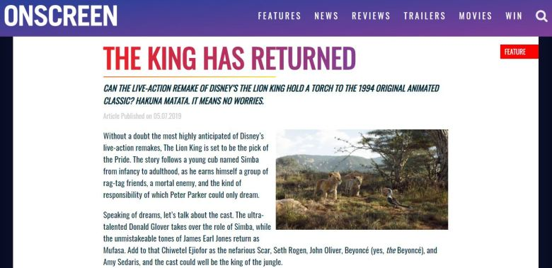 The Lion King Onscreen Magazine Screengrab