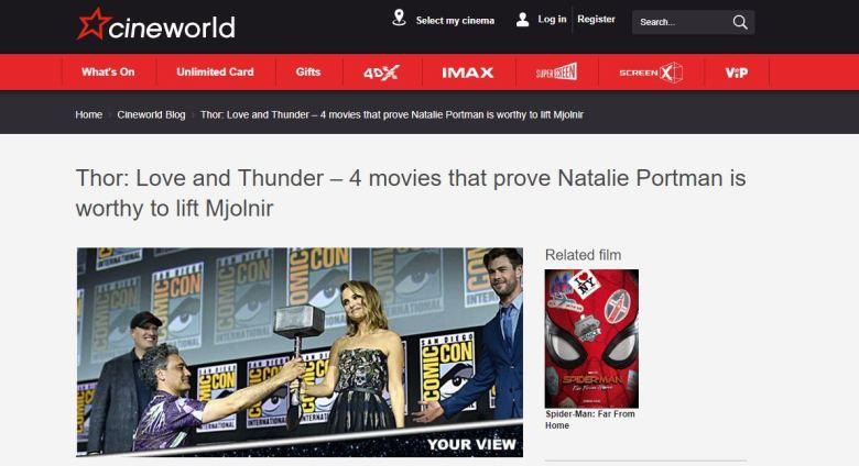 Cineworld Natalie Portman Mighty Thor Screengrab