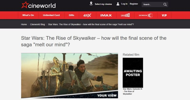 Cineworld Star Wars melt your mind screengrab