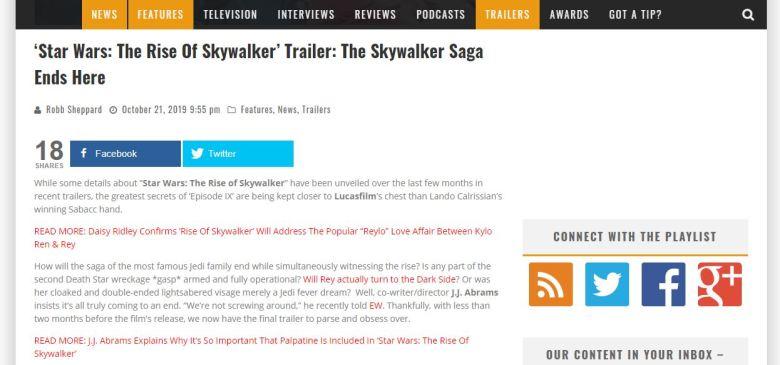The Rise of Skywalker Playlist Screengrab