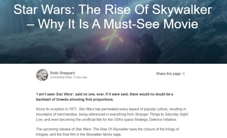 Zavvi Star Wars The Rise of Skywalker Screengrab