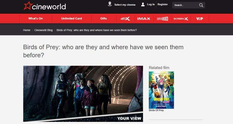 Birds of Prey Cineworld Screengrab