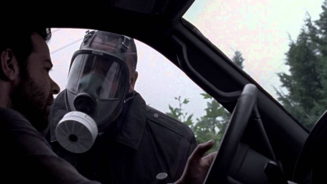 cop in gas mask quarantine movie