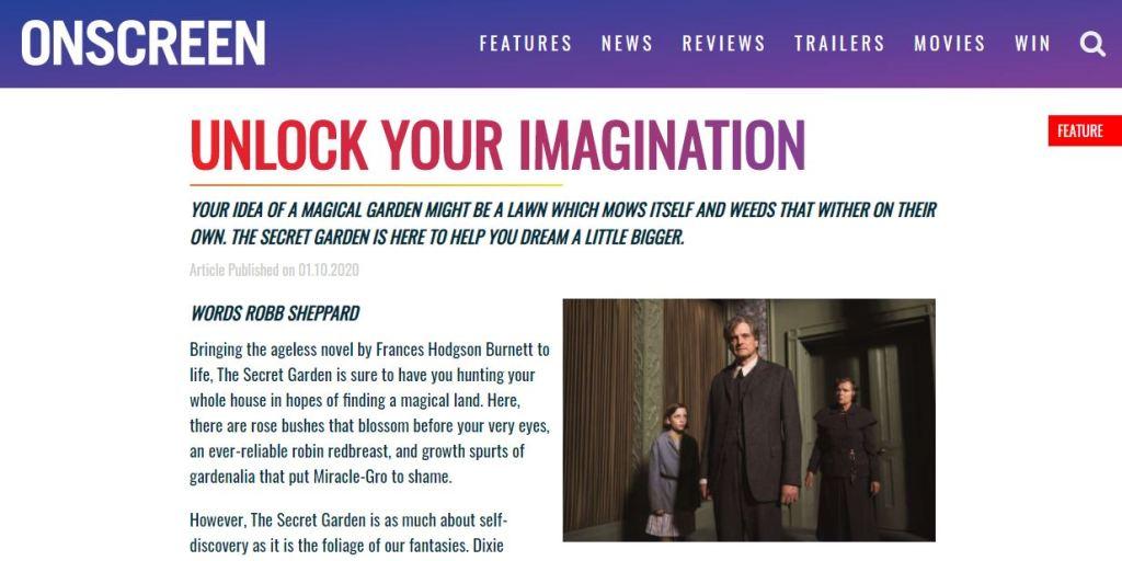The Secret Garden Onscreen Magazine screengrab
